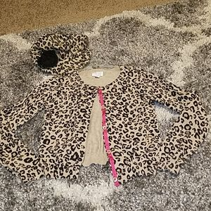 Leopard cardigan and matching hat